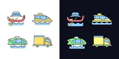 Gebuchter Taxiservice Helles und dunkles Thema RGB-Farbsymbole gesetzt vektor