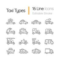 Taxitypen lineare Symbole gesetzt vektor