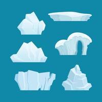 Eisberg arktische Landschaft mit kaltem weißem Eis rockt Ozeanwasser-Cartoon-Sammlung vektor