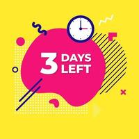 Verkauf Countdown flüssige abstrakte Elemente drei Tage links Zeichen Vektor-Illustration vektor