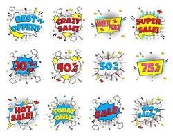12 Sonderangebot-Sprechblasen mit Comic-Schriftzug über den Verkauf im Comic-Stil flaches Design. dynamische Retro-Vintage-Pop-Art-Illustration isoliert auf weißem Hintergrund. heißer verkauf, sonderangebot etc... vektor