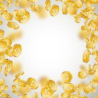 Realistische Goldmünzenabbildung auf sauberem Hintergrund. Fallende Münze mit Dollarzeichen. Vektor Erfolgskonzept Design.