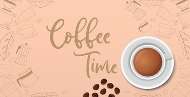 Kaffeepause, stilvoller Kaffee heller Hintergrund - Vektor