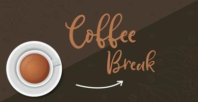 Kaffeepause, stilvoller Kaffee dunkler Hintergrund - Vektor
