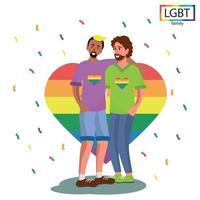 LGBT-Familie zwei Männer freundliche Umarmung - Vektor