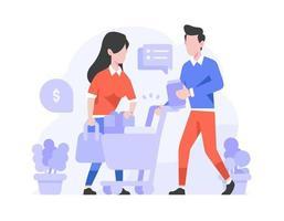 Leute wählen Waren in den Warenkorb legen Produkt online kaufen Konzept flache Designillustration vektor