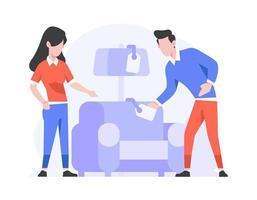 Online-Shop E-Commerce Home Interior Kategorie Menschen wählen Möbel flache Design-Stil Illustration vektor