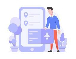 Online-Shop E-Commerce Reisen Kategorie kaufen Flugticket auf Telefon flache Design-Stil Illustration vektor
