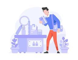 Online-Shop E-Commerce-Bürobedarfskategorie wählen stationäre flache Design-Stilillustration vektor