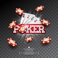 Casino Illustration med pokerkort och fallande chips på transparent bakgrund. Vektor gambling design för inbjudan eller promo banner.