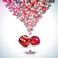 Kasinospielkartensymbole auf weißem Hintergrund. Vektor-spielendes sich hin- und herbewegendes Gestaltungselement und Würfel für Einladungs- oder Promofahne.