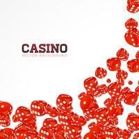 Kasinoillustration mit dem Schwimmen würfelt auf weißem Hintergrund. Vektor, der lokalisiertes Gestaltungselement spielt.