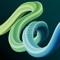 Abstrakt 3D Färgglada Curve Line Bakgrund. Vektor flytande vätska konstnärlig färg illustration. Kreativt koncept för presentations- eller kommunikationsaffischdesign.