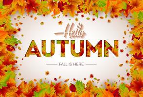 Höst illustration med fallande löv och bokstäver på vit bakgrund. Höstlig vektorgrafik för hälsningskort, banner, flygblad, inbjudan, broschyr eller reklamaffisch.
