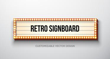 Vector Retro- Schild- oder Leuchtkastenillustration mit kundengerechtem Design auf sauberem Hintergrund. Lichtbanner oder Vintage-Leuchtreklame für Werbung oder Ihr Projekt. Show, Nachtveranstaltungen, Kino- oder Theaterglühlampenrahmen.