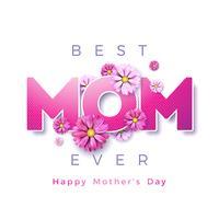 Lycklig mors dag hälsningskortdesign med blomma och bästa mamma någonsin typografiska element på vit bakgrund. Vektor firande illustration