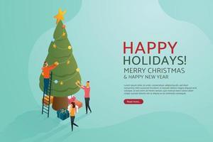 Leute, die feiern, schmücken Weihnachtsbaum. vektor