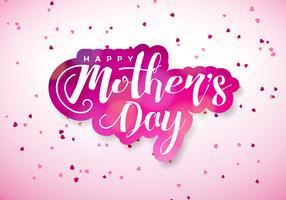 Glückliche Mutter-Tagesgrußkarte mit Herd und typografischem Design auf rosa Hintergrund. Vector Feier-Illustrationsschablone für Fahne, Flieger, Einladung, Broschüre, Plakat.
