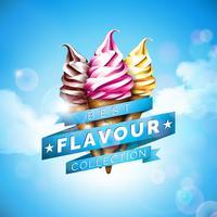 Eiscremeillustration mit köstlichem Nachtisch und beschriftetem Band auf Hintergrund des blauen Himmels. Vector Designschablone für fördernde Fahne oder Plakat mit Vanille, Schokolade, Durchschlag.