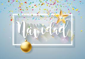 Julillustration med spanska Feliz Navidad Typografi och Gold Cutout Paper Star, prydnadsboll på glänsande ljus bakgrund. Vector Holiday Design