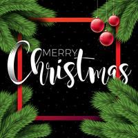 Frohe Weihnacht-Illustration auf schwarzem Hintergrund mit Typografie- und Feiertags-Elementen, Design des Vektor ENV 10.