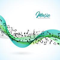 Vektor Musik illustration med fallande anteckningar och abstrakt färg design på vit bakgrund för inbjudan banner, party affisch, hälsningskort.