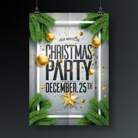 Vektor-fröhliches Weihnachtsfest-Design mit Feiertags-Typografie-Elementen und dekorativen Bällen, Ausschnitt-Papierstern, Kiefernniederlassung auf sauberem Hintergrund. Feier-Flyer-Illustration. EPS 10.