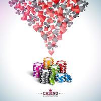 Vector Illustration auf einem Kasinothema mit Pokerkarten und dem Spielen von Chips auf weißem Hintergrund. Glücksspielentwurf für Einladungs- oder Promobanner.