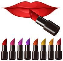 Frauenlippen und viele Lippenstifte