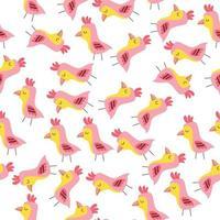 nahtloses Muster mit rosa Vögeln, süßer Vogel handgezeichnet im Doodle-Stil. Muster für die Verpackung. Stoff, Tapete vektor