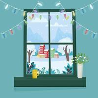Weihnachtsfenster mit Winterlandschaft. Banner-, Poster- oder Grußkartenvorlage. Vektorillustration im flachen Stil vektor