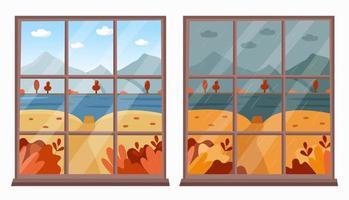 klares und regnerisches Wetterfensteransichtskonzept vektor