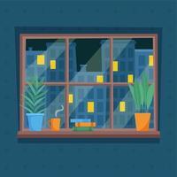 Nachtansicht der Stadt aus dem Fenster. Lichter in Fenstern. vektor
