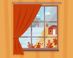 Herbstlandschaftsansicht aus dem Fenster vektor
