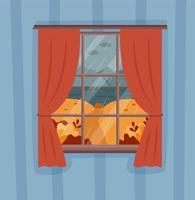 Herbst regnerische Landschaft Blick aus dem Fenster vektor