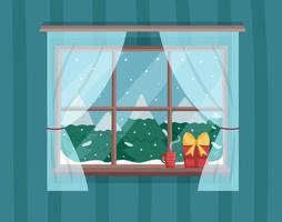 Winterfensteransicht mit verschneiten Weihnachtsbäumen vektor