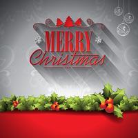 Vektor Holiday illustration på en jul tema med typografiska element på ornament bakgrund.