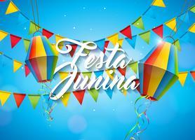 Festa Junina Illustration med Party Flags and Paper Lantern på gul bakgrund. Vektor Brasilien juni festivalsdesign för hälsningskort, inbjudan eller semesteraffisch.