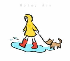 süßes Mädchen im gelben Regenmantel, das am regnerischen Tag mit dem Hund spazieren geht vektor
