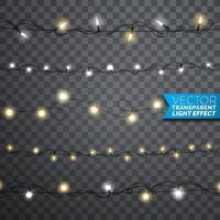 Glödande julljus realistiska isolerade designelement på transparent bakgrund. Xmas garlands dekorationer för Holiday hälsningskort.