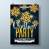 Vektor Glad jul fest affisch design mall med semester typografi element och glänsande guld snöflinga på mörk bakgrund.
