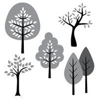 svart vitgråa träd