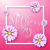 Lycklig mors dag hälsningskort med blomma på rosa bakgrund. Vektor firande Illustration mall med typografisk design för banner, flygblad, inbjudan, broschyr, affisch.