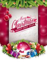 Vektor jul illustration med typografisk design och glänsande semesterelement på röd bakgrund.