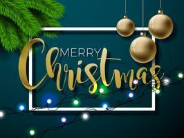 Frohe Weihnacht-Illustration auf rotem Hintergrund mit Typografie- und Feiertagselementen, Design des Vektor ENV 10.