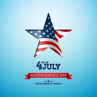 USA: s självständighetsdag Vektorillustration med flagga i skärande stjärna. Fjärde juli Design på ljus bakgrund för banner, hälsningskort, inbjudan eller semesteraffisch.
