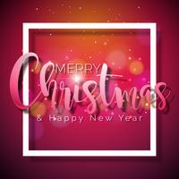Frohe Weihnachten und guten Rutsch ins Neue Jahr-Illustration auf glänzendem rotem Hintergrund mit Typografie- und Feiertags-Elementen, Design des Vektor ENV 10.