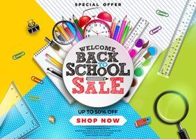 Tillbaka till skolförsäljning med färgstark penna, pensel och andra skolartiklar på abstrakt bakgrund. Vektorillustration med specialtyp Typografielement för kupong