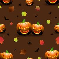 Halloween sömlösa mönster illustration med pumpor läskiga ansikten och höstlöv på mörk bakgrund.
