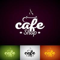 Coffe Cup Vector Logo Design Mall. Set med Cofe Shop etikettillustration med olika färger.